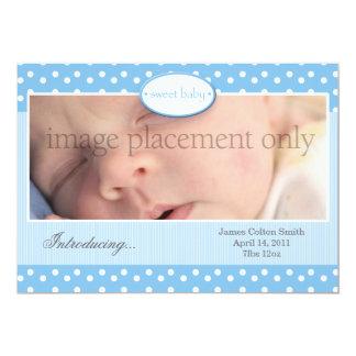 "Blue and White Dots Horizontal Birth Announcement 5"" X 7"" Invitation Card"