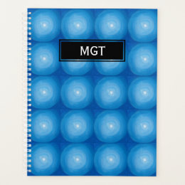 Blue And White Dots Pattern With Monogram Planner