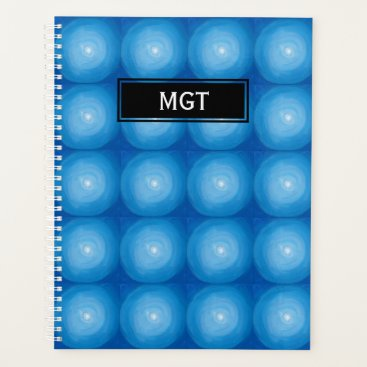 Professional Business Blue And White Dots Pattern With Monogram Planner