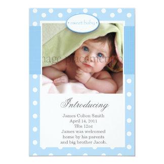 "Blue and White Dots Vertical Birth Announcement 5"" X 7"" Invitation Card"