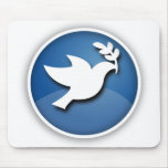 Blue and White Dove of Peace Mouse Pad