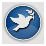 Blue and White Dove of Peace Posters