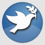 Blue and White Dove of Peace Round Sticker