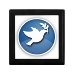 Blue and White Dove of Peace Trinket Box