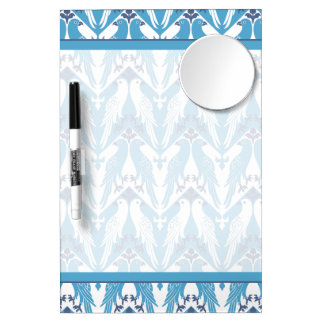 Blue and White Doves Dry Erase Board