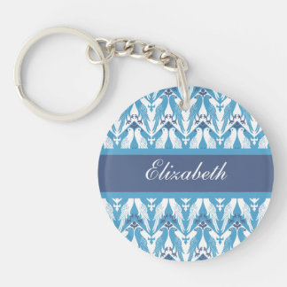 Blue and White Doves Keychain
