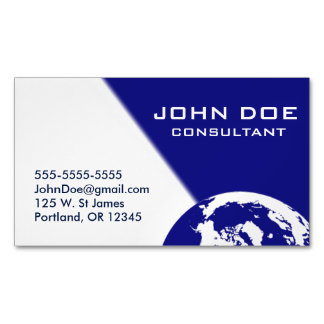 Blue and White Earth Magnetic Business Card