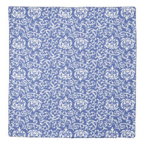 Blue and White Elegant Tudor Damask Duvet Cover