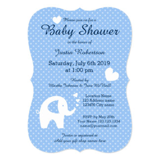 """Blue and white elephant baby shower invitations 5"""" x 7"""" invitation card"""