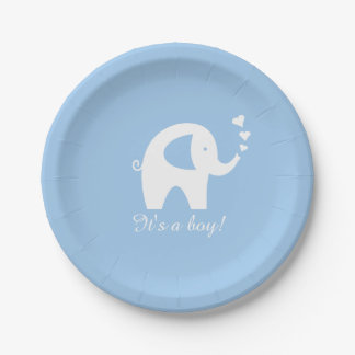 Blue and white elephant baby shower paper plates