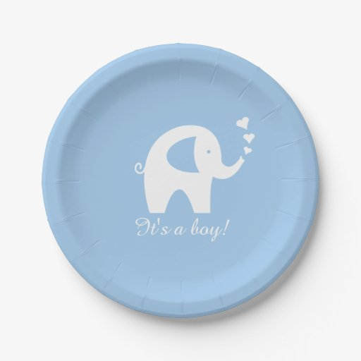 Baby Shower Plate: Blue And White Elephant Baby Shower Paper Plates