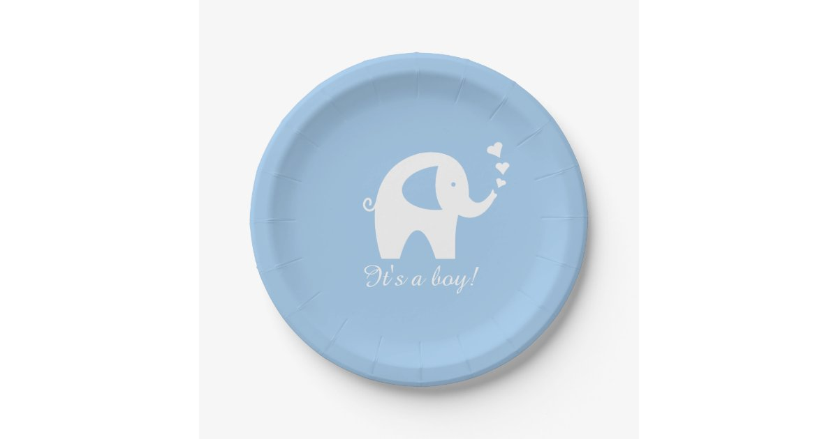 blue and white elephant baby shower paper plates zazzle