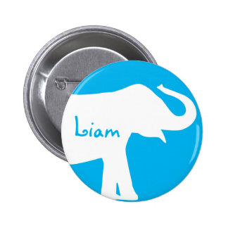 Blue and White Elephant Custom Monogram Pinback Button