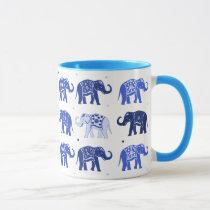 Blue and White Elephant Mug