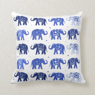 Blue and White Elephant Pattern Pillow
