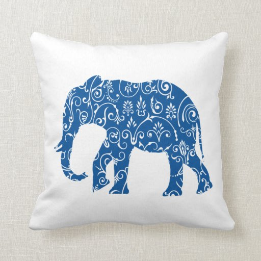 Blue White Throw Pillow : Blue and white elephant throw pillow Zazzle