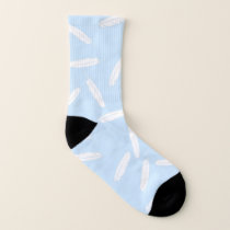 Blue and White Falling Feathers Pattern Socks