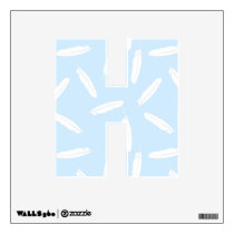 Blue and White Falling Feathers Pattern Wall Sticker