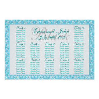 Blue and White Fancy Damask Pattern Seating Chart Poster