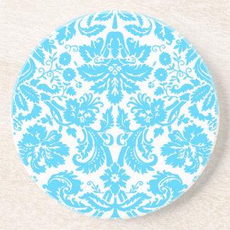 Blue and White Fancy Damask Patterned Sandstone Coaster