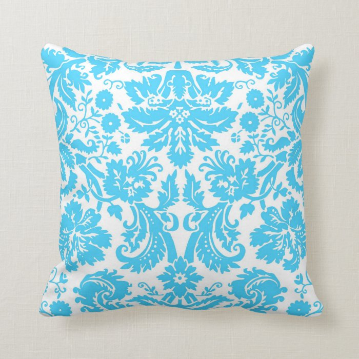 Blue White Throw Pillow : Blue and White Fancy Damask Patterned Throw Pillow Zazzle