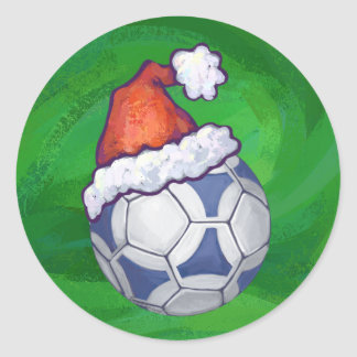 Blue and White Festive Soccer Ball on Green Classic Round Sticker