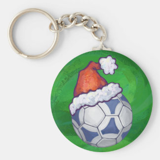 Blue and White Festive Soccer Ball on Green Keychain