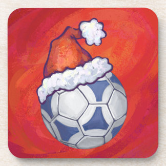 Blue and White Festive Soccer Ball on Red Coaster