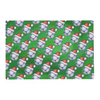 Blue and White Festive Soccer Ball Pattern Placemat