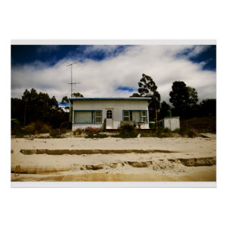 Blue and white fibro beach shack poster