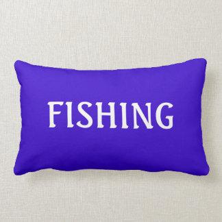 Blue and White FISHING Word Angler Beach Theme Lumbar Pillow