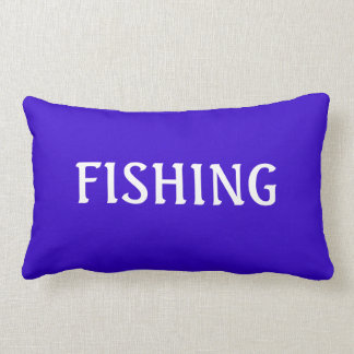 Blue and White FISHING Word Angler Beach Theme Throw Pillow