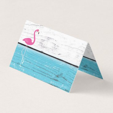 Beach Themed Blue and White Flamingo Folded Place Cards