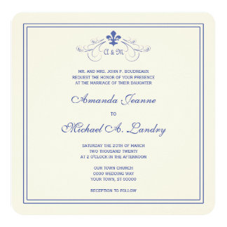 Blue and White Fleur de Lis Scroll Formal Wedding Card