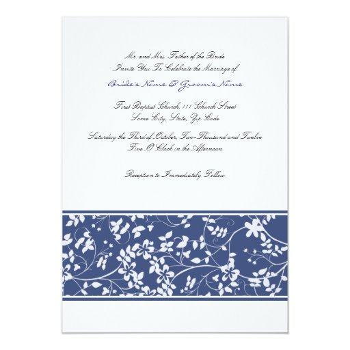 Blue and White Floral Accent Wedding Invitation