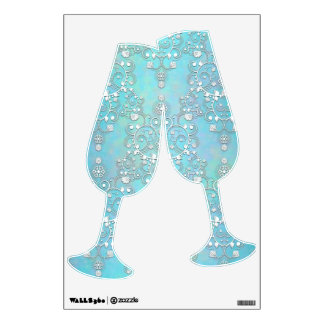 Blue and White Floral Damask Champagne Glasses Wall Decal