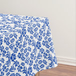 Blue and White Floral Damask Table Cloth Tablecloth