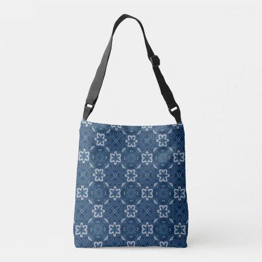 Blue And White Floral Design Tote Bag | Zazzle