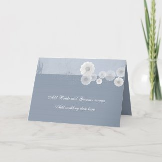Blue And White Floral Formal Wedding Invitation card