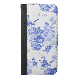 Blue and White Floral iPhone 6S Plus Wallet Case