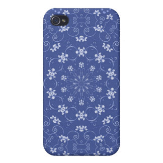 Blue and White Floral Kaleidoscope iPhone 4 Case