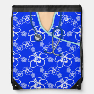 Blue And White Floral Medical Scrubs Drawstring Backpack