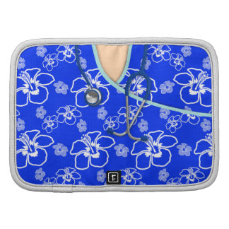 Blue And White Floral Medical Scrubs Organizers