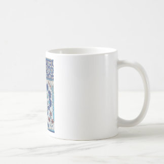 Blue and white floral Ottoman era tile design Coffee Mug