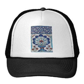 Blue and white floral Ottoman era tile design Hats