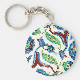 Blue and white floral Ottoman era tile design Keychain