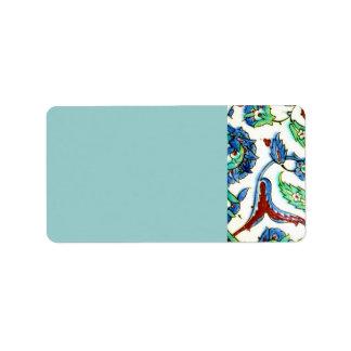 Blue and white floral Ottoman era tile design Label
