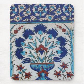 Blue and white floral Ottoman era tile design Mouse Pad