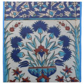 Blue and white floral Ottoman era tile design Napkin