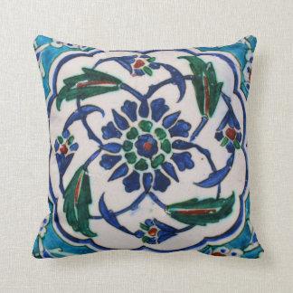 Blue and white floral Ottoman era tile design Pillow